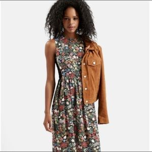 Topshop 'Woodland Floral' Side Lace Midi Dress